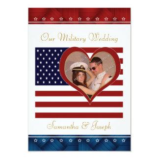 Convite militar do casamento - coração da bandeira
