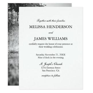 Convite minimalista simples do casamento da foto