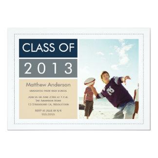 Convite moderno da graduação da foto - azul/Tan