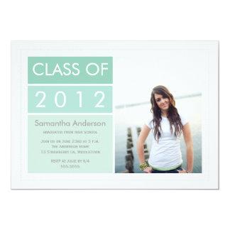 Convite moderno da graduação da foto - hortelã