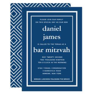 Convite moderno de Mitzvah do bar dos azuis