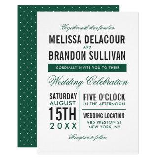 Convite moderno verde do casamento da tipografia