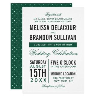 Convite moderno verde II do casamento da