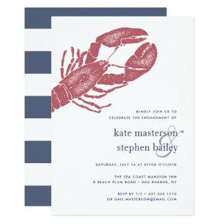 Convite náutico da festa de noivado da lagosta