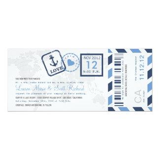 Convite náutico do bilhete do correio aéreo da