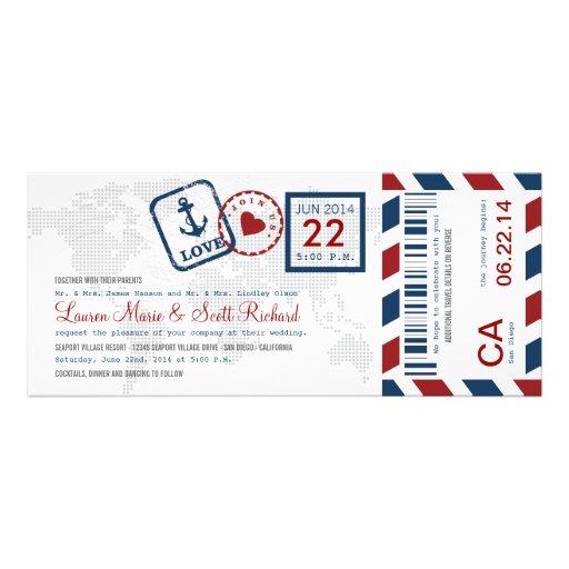 Convite náutico do bilhete do correio aéreo da pas