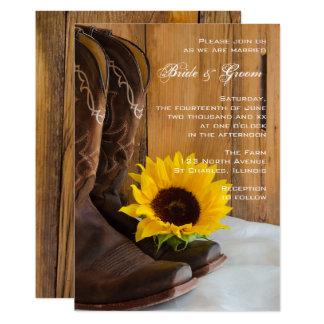 Convite ocidental do casamento do girassol do país