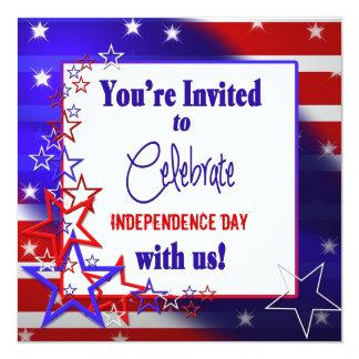 Convite patriótico - bandeira dos Estados Unidos Convite Quadrado 13.35 X 13.35cm