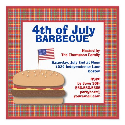 Convite patriótico do assado do hamburguer do piqu