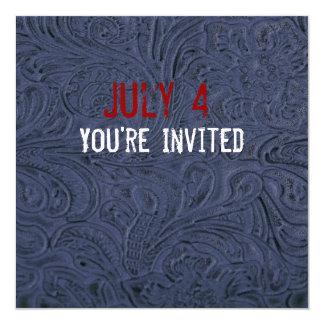 Convite patriótico do olhar de couro azul convite quadrado 13.35 x 13.35cm
