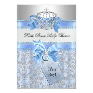 Convite pequeno azul do chá de fraldas do príncipe