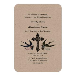 Convite pequeno católico do casamento dos pássaros