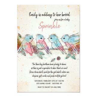 Convite pequeno de quatro pássaros