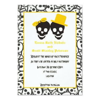 Convite preto amarelo do casamento do Dia das
