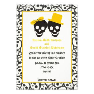 Convite preto amarelo do casamento do Dia das Brux