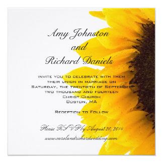 Convite preto amarelo do casamento do girassol
