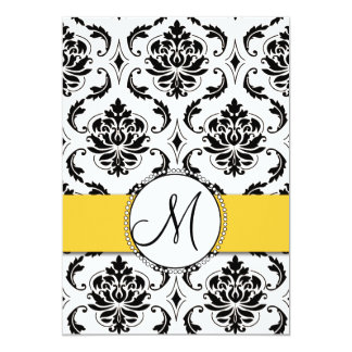 Convite preto amarelo do casamento tema damasco do