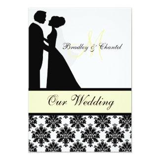 Convite preto, amarelo, e branco do casamento do