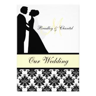 Convite preto amarelo e branco do casamento do c