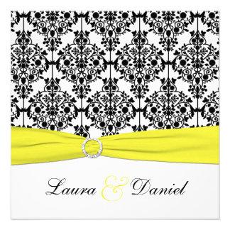 Convite preto branco amarelo do casamento tema