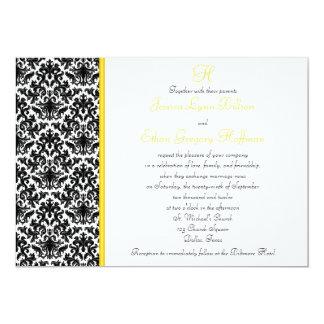 Convite preto, branco, amarelo do casamento tema