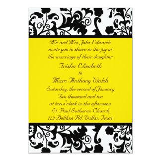Convite preto, branco, & amarelo elegante do