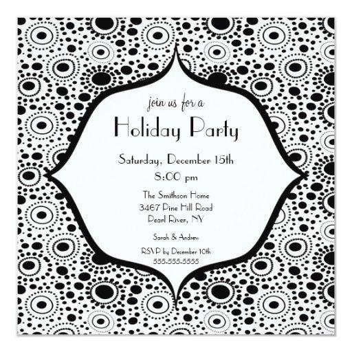 Convite preto & branco na moda da festa natalícia convite quadrado 13.35 x 13.35cm