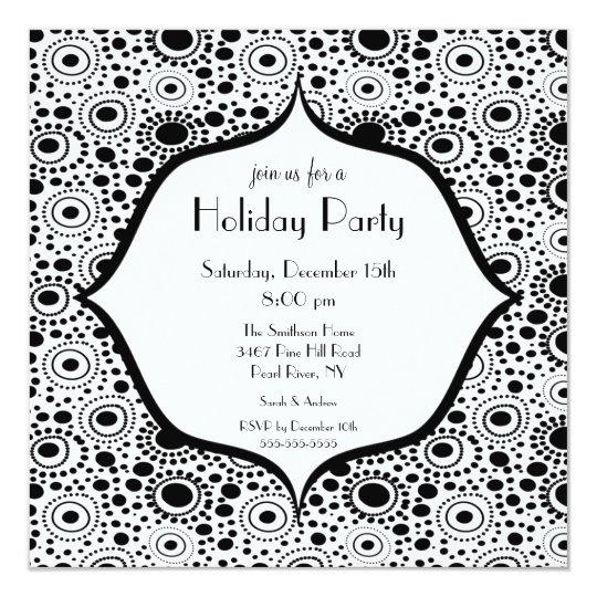Convite preto & branco na moda da festa natalícia
