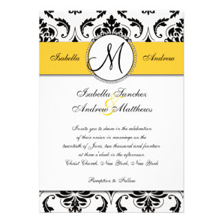 Convite preto do casamento do amarelo do damasco