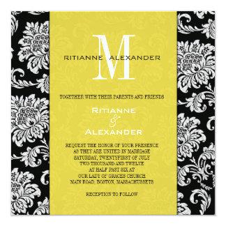 Convite preto do casamento do monograma do amarelo