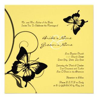 Convite preto e amarelo do casamento da borboleta