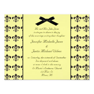 Convite preto e amarelo do casamento da flor de