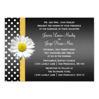 Convite preto e amarelo do casamento da margarida