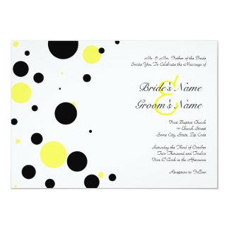 Convite preto e amarelo do casamento das bolinhas