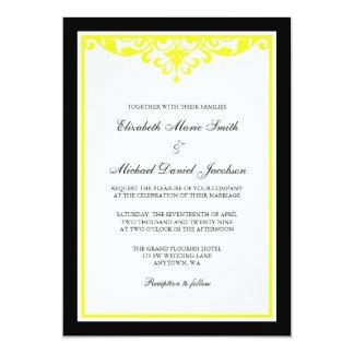 Convite preto e amarelo do casamento do Flourish