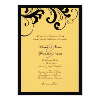Convite preto e amarelo do casamento do quadro dos