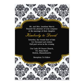 Convite preto e amarelo do casamento tema damasco
