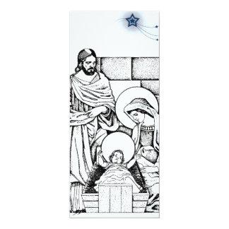 Convite preto e branco da natividade convite 10.16 x 23.49cm