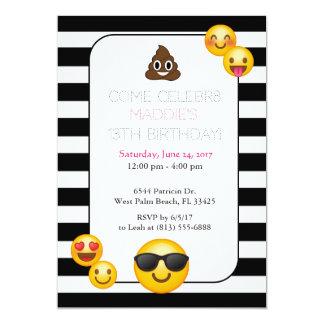convite preto e branco do aniversário do emoji