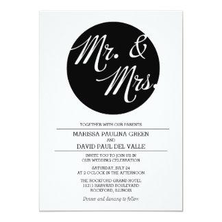 Convite preto e branco do casamento