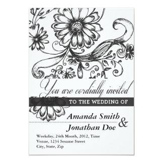 Convite preto e branco do casamento da flor