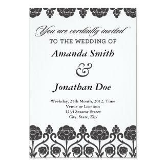 Convite preto e branco do casamento tema damasco