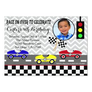 convite racecar do aniversário do menino do carro