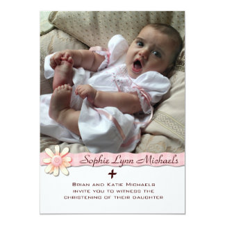 Convite religioso da foto da fita cor-de-rosa da