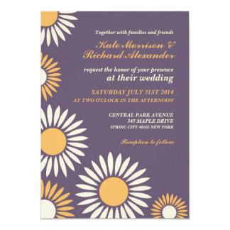 Convite retro clássico roxo do casamento do