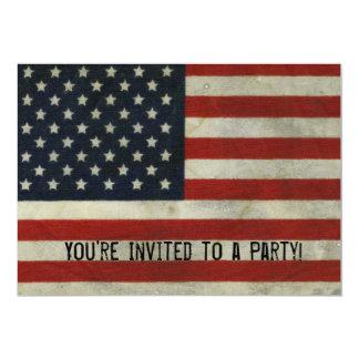 Convite retro da bandeira americana