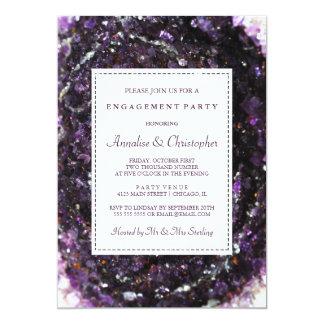Convite roxo Amethyst da festa de noivado de Geode