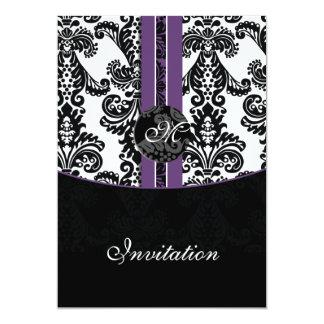 convite roxo do casamento do damasco convite 12.7 x 17.78cm