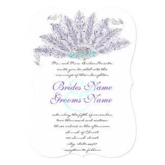 Convite roxo do casamento do fã da pena do vintage