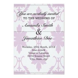 Convite roxo do casamento tema damasco